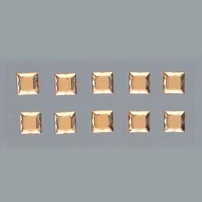 Самозалепващи се кристали, Quadrat, квадрат, 4, 5, 6, 8 mm, 48 бр., светъл топаз
