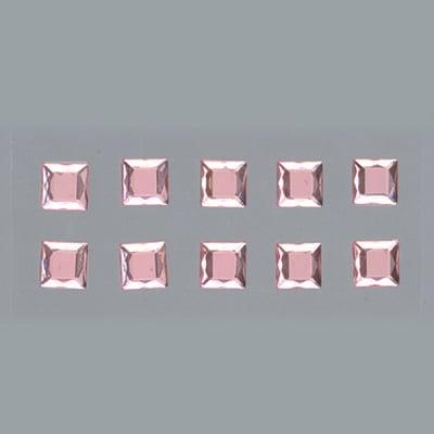Самозалепващи се кристали, Quadrat, квадрат, 4, 5, 6, 8 mm, 48 бр., светла роза