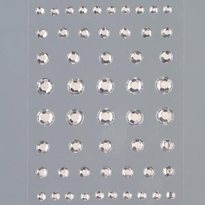 Самозалепващи се кристали, Rund, кръг, 4, 5, 6, 8 mm, 54 бр., кристал