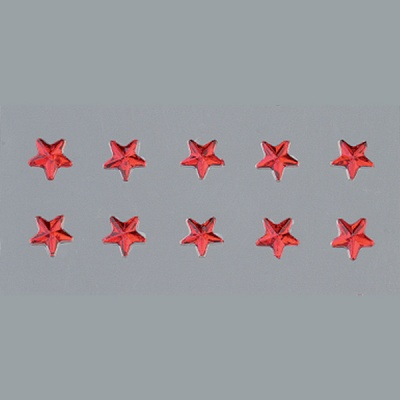 Самозалепващи се кристали, Stern, звезда, 4, 5, 6, 8mm, 56 бр., червени