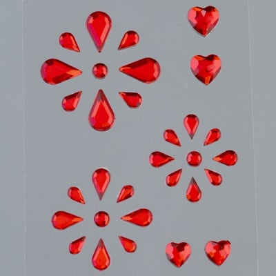 Самозалепващи се кристали, Tropfen Mix, 4x7, 5x8, 6x10, 8x13 mm, 31 бр., червени