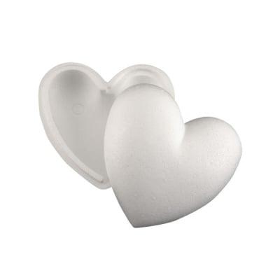 Сърце 1/2 от стиропор, бял, 90 mm