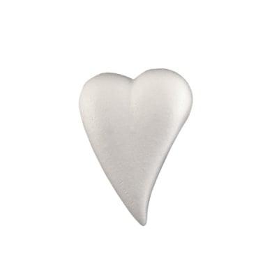 Сърце-капка от стиропор, бял, 120x85 mm