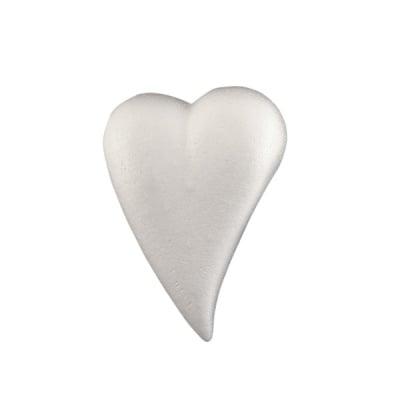 Сърце-капка от стиропор, бял, 200x140 mm