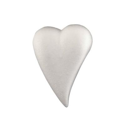 Сърце-капка от стиропор, бял, 82x55 mm