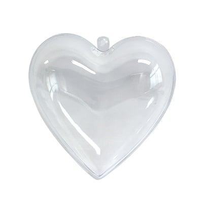 Сърце от пластмаса, H 80 mm, прозрачна