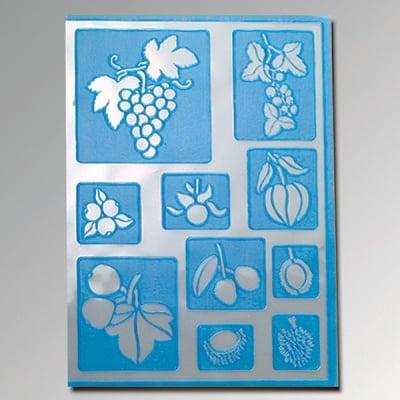 Шаблон самозалепващ, плодове, 10 части, DIN A5