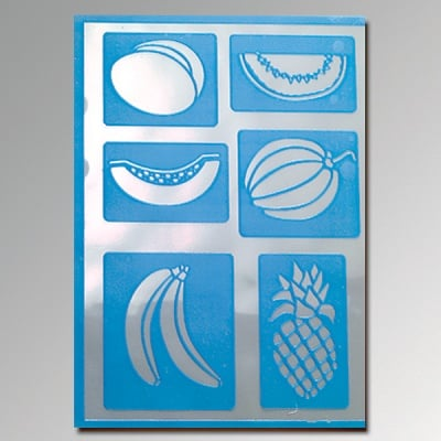 Шаблон самозалепващ, плодове, 6 части., DIN A5