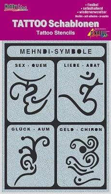 Шаблон за татуировка Tattoo Schablone, Mehndi-Symbole