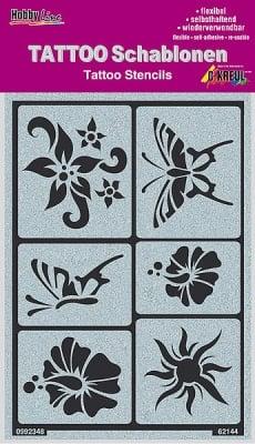 Шаблон за татуировка Tattoo Schablone, слънце, цветя, пеперуди