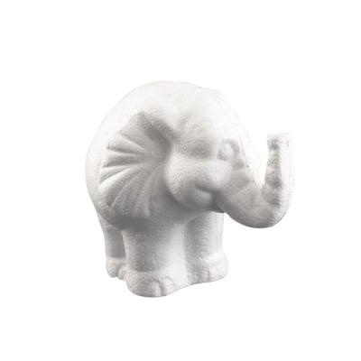Слон от стиропор, бял, H 120 mm
