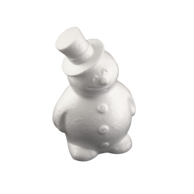 Снежен човек с шапка от стиропор, бял, H 170 mm