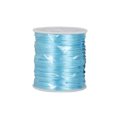 Сплетен шнур, сатен, 1,0 mm, 50 м. ролка,  светло син
