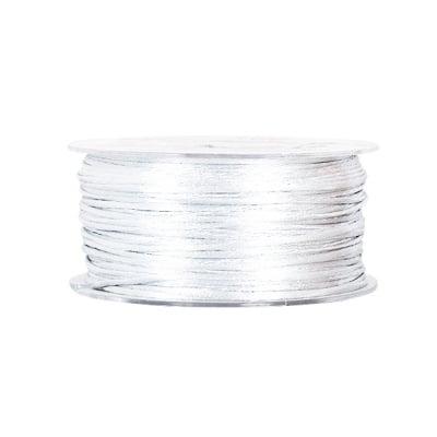 Сплетен шнур, сатен, 1.5 mm, 50 м. ролка, бял