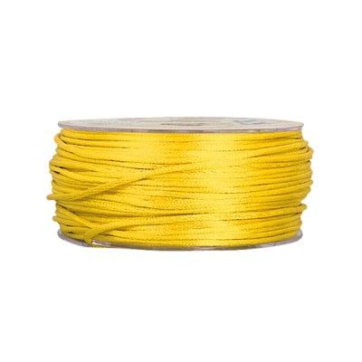 Сплетен шнур, сатен, 1.5 mm, 50 м. ролка, светло жълто
