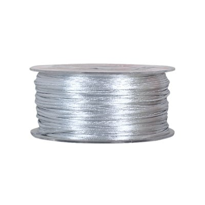 Сплетен шнур, сатен, 1.5 mm, 50 м. ролка, светло сив