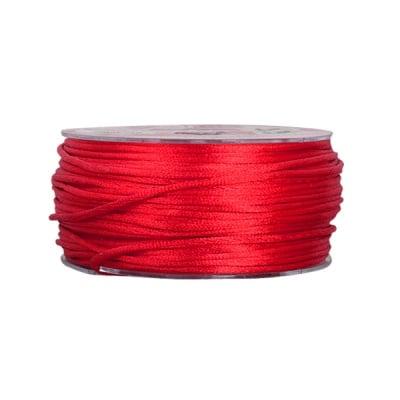 Сплетен шнур, сатен, 2 mm, 50 м. ролка, бордо