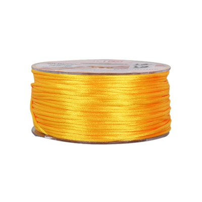 Сплетен шнур, сатен, 2 mm, 50 м. ролка, жълт