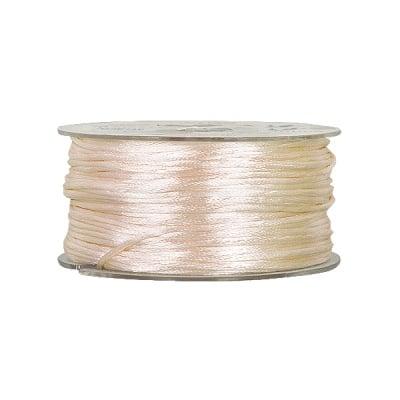Сплетен шнур, сатен, 2 mm, 50 м. ролка, кремав