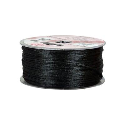 Сплетен шнур, сатен, 2 mm, 50 м. ролка,  черен