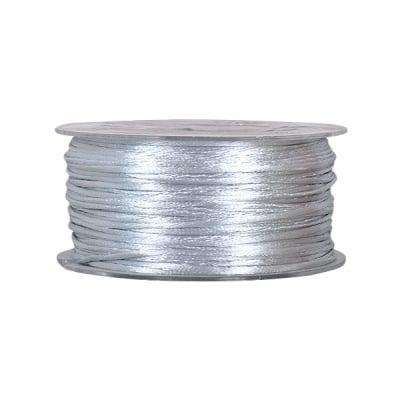 Сплетен шнур, сатен, 2 mm, 50 м. ролка, светло сив