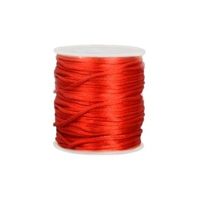 Сплетен шнур, сатен,1 mm, 50 м. ролка, червен