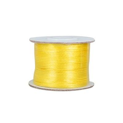Сплетен шнур, сатен,1 mm, 50 м. ролка, жълт