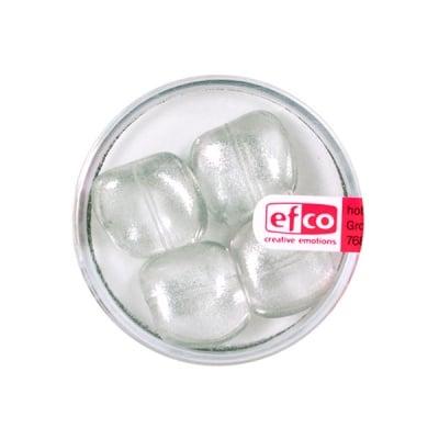 Стъклени перли, металик, 13x15 mm, 4 бр., прозрачно-сребристи