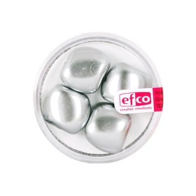 Стъклени перли, металик, 13x15 mm, 4 бр., сребристи