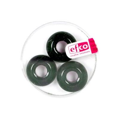 Стъклени перли Ring, широк отвор, 11x17 mm, 3 бр., черни