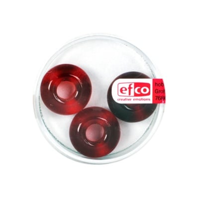 Стъклени перли Ring, широк отвор, 11x17 mm, 3 бр., червени