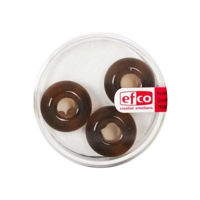 Стъклени перли Ring, широк отвор, 11x17 mm, 3 бр., кафяви