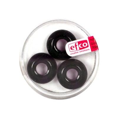 Стъклени перли Ring, широк отвор, 11x17 mm, 3 бр., лилави