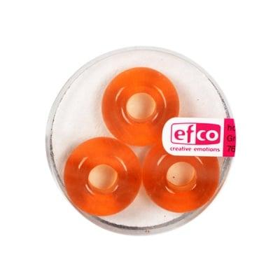 Стъклени перли Ring, широк отвор, 11x17 mm, 3 бр., оранжеви