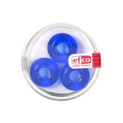 Стъклени перли Ring, широк отвор, 11x17 mm, 3 бр., сини