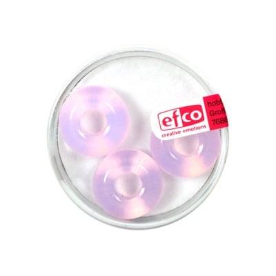 Стъклени перли Ring, широк отвор, 11x17 mm, 3 бр., светлорозов опал