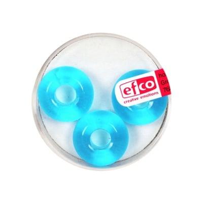 Стъклени перли Ring, широк отвор, 11x17 mm, 3 бр., светлосини