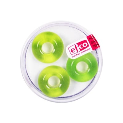 Стъклени перли Ring, широк отвор, 11x17 mm, 3 бр., светлозелени