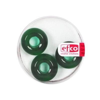 Стъклени перли Ring, широк отвор, 11x17 mm, 3 бр., зелени