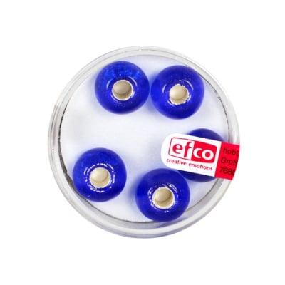 Стъклени перли, широк отвор, 12 mm, 5 бр., сребристо сини