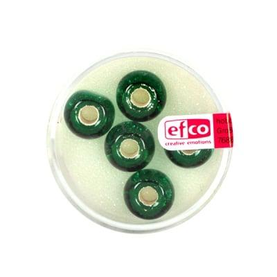 Стъклени перли, широк отвор, 12 mm, 5 бр.,сребристо зелено