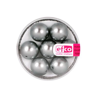 Стъклени восъчни перли, 12 mm, 7 бр., антрацит