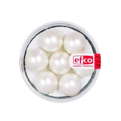 Стъклени восъчни перли, 12 mm, 7 бр., бели