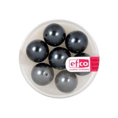 Стъклени восъчни перли, 12 mm, 7 бр., черни