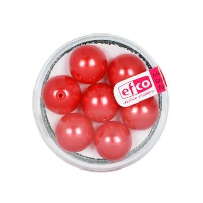 Стъклени восъчни перли, 12 mm, 7 бр., червени