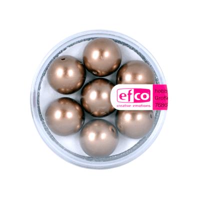Стъклени восъчни перли, 12 mm, 7 бр., кафяви