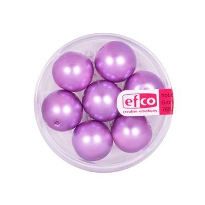 Стъклени восъчни перли, 12 mm, 7 бр., лилави