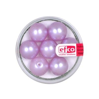 Стъклени восъчни перли, 12 mm, 7 бр., люлякови