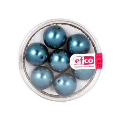 Стъклени восъчни перли, 12 mm, 7 бр., синьо-зелени