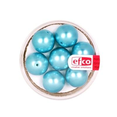 Стъклени восъчни перли, 12 mm, 7 бр., светло синьо-зелени